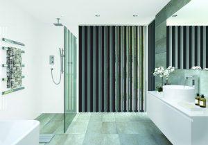 Vertical bathroom blinds: Topaz Charcoal design - Blinds Norfolk - Norwich Sunblinds