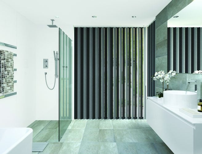 Vertical bathroom blinds: Topaz Charcoal design from Louvolite 2017 collection