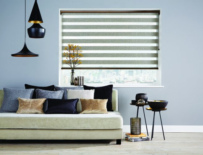 Roller Vision fabric blinds in bronze