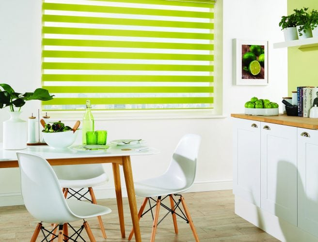 Vision kitchen fabric blinds: Capri Paradise Green