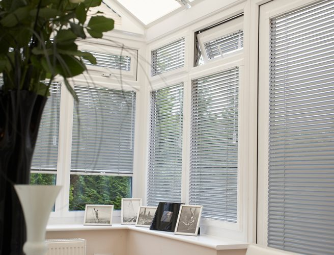 louvolite Conservatory Blinds with a metallic finish.