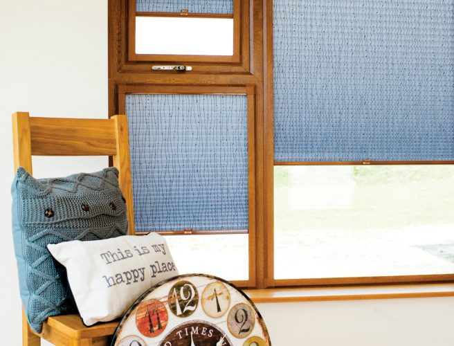 Blue Mizzie perfect fit pleated blinds