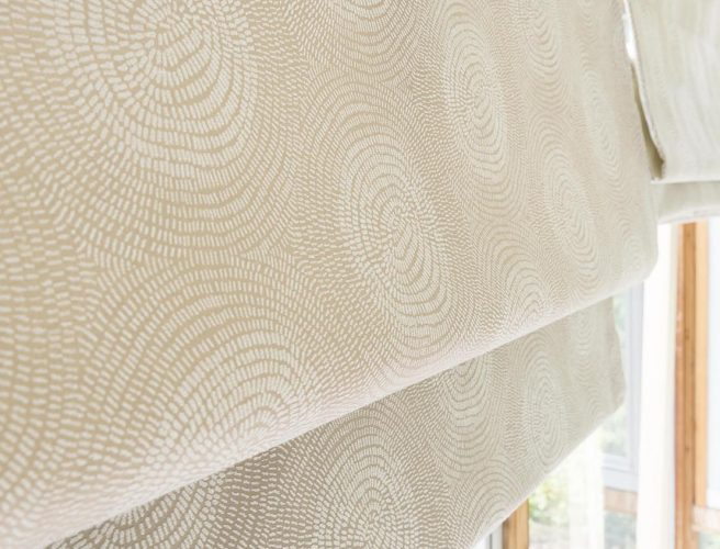Close up of roman blind made with cream fabric from the organics collection - Blinds Norfolk - Norwich Sunblinds