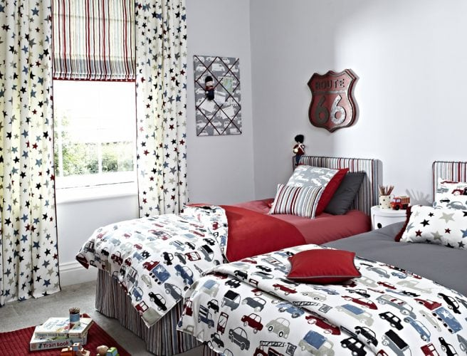 Roman blinds and curtains for childrens bedroom with Playtime fabric from Prestigious
