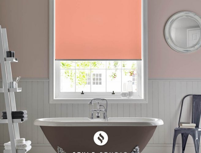 Coral bathroom roller blinds