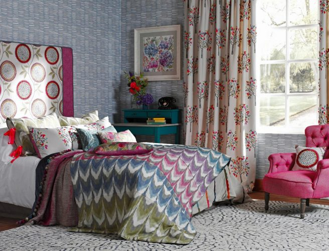Rashiekas Garden fabric from Voyage for bedroom curtains made to measure by Norwich Sunblinds.