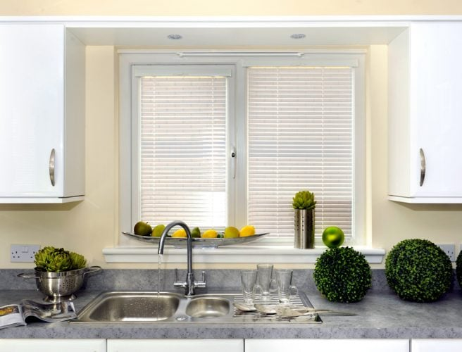 white kitchen perfect fit venetian blinds