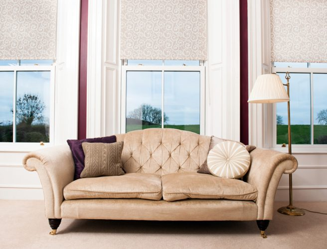 Scripture fabric pleated perfect fit blinds