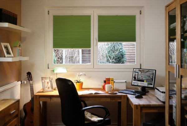 Green Twilight perfect fit pleated blinds in home office - Blinds Norfolk - Norwich Sunblinds