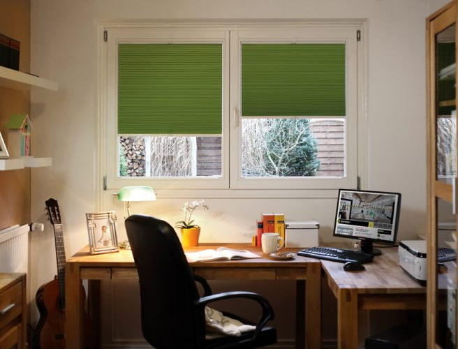 Green Twilight perfect fit pleated blinds in home office
