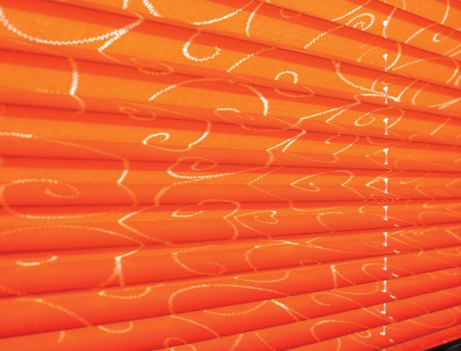 Twine fabric pleated blinds close up image