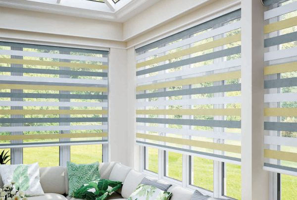 Close up of the amazing vision blinds fitted to a conservatory
