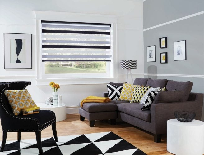 Vision Blinds from Norwich Sunblinds, fitted into a living room.