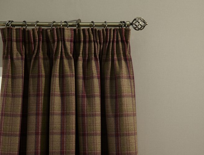 Close up iLiv art deco berry curtain fabric