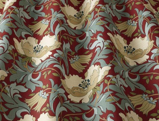 Close up iLiv Art Deco Cherry curtain fabric