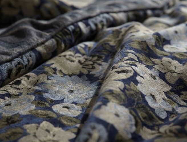 Close up iLiv Art Deco Navy Cameo curtain fabric sample