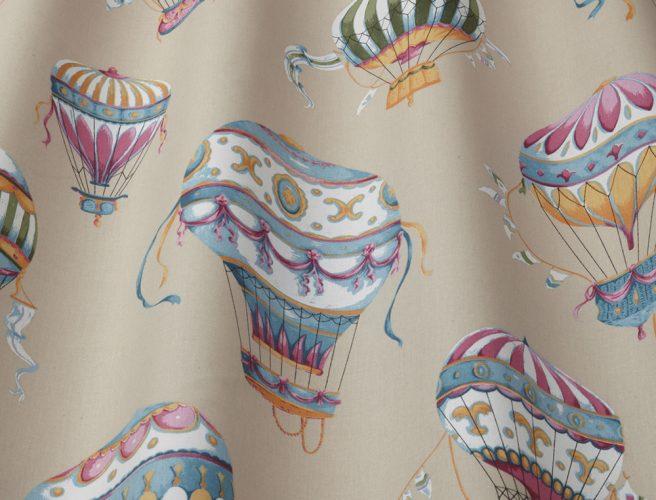 iLiv cobalt balloon curtain fabric detail