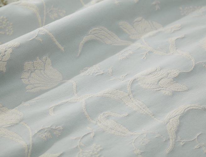 iLiv Botanica eau de nil curtain fabric details