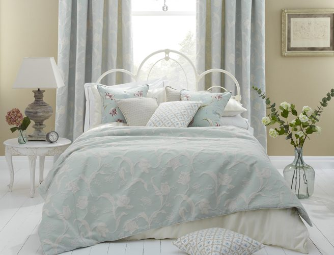 iLiv Botanica eau de nil fabric for bedroom curtains