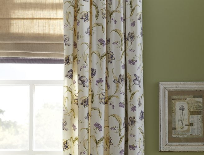 Botanica heather design fabric in curtains and matching roman blind