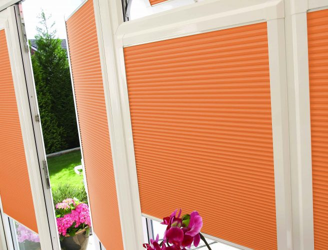 close up image of a pleated perfect fit conservatory blind