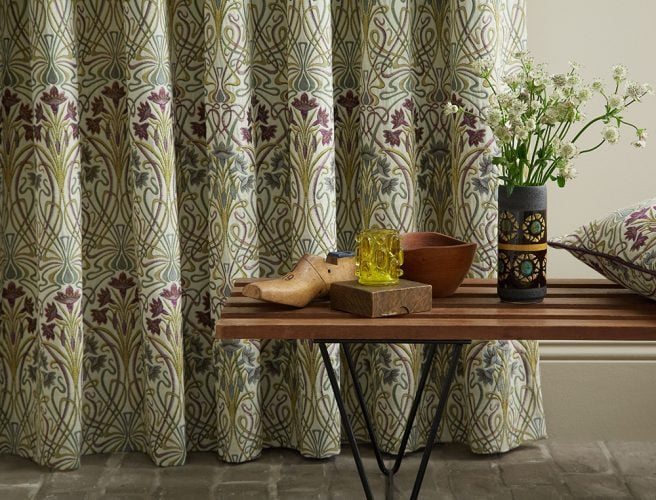 iLiv Cotswold Jade curtain fabric detail