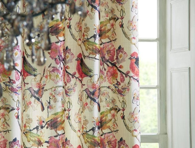 iLiv Hummingbird Magenta curtain fabric