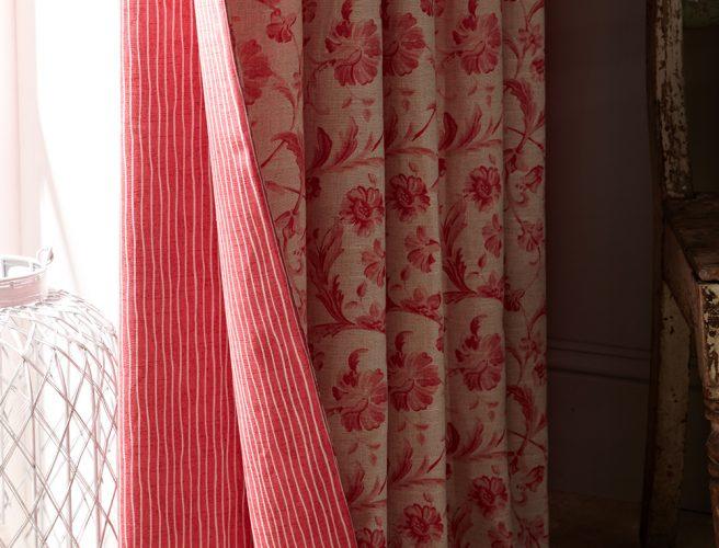 iLiv Tuileries Tearose fabric detail for Norfolk handmade curtains