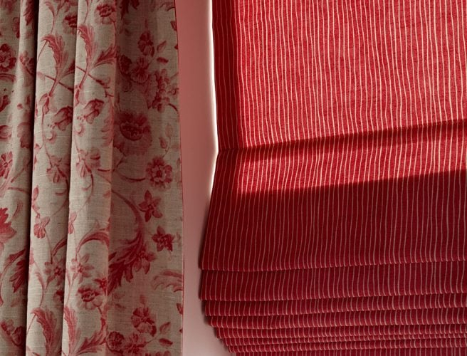 iLiv Tuileries Tearose detail for curtains and matching red roman blinds