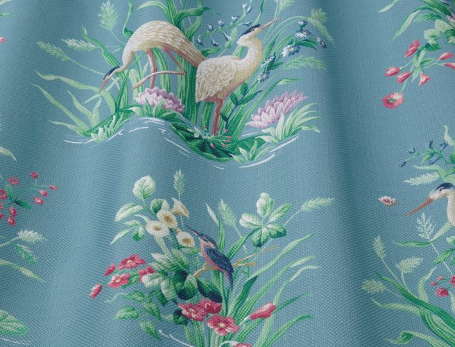 iLiv Waterbird Cobalt fabric for curtains
