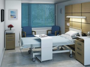 Louvolite blinds with an anti-microbial coating in a hospital ward.