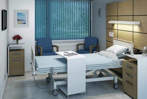 Louvolite blinds with an anti-microbial coating in a hospital ward. - Blinds Norfolk - Norwich Sunblinds