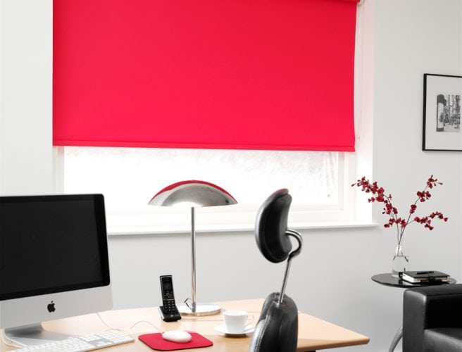 Bright, Carnival red office blind - Blinds Norfolk - Norwich Sunblinds