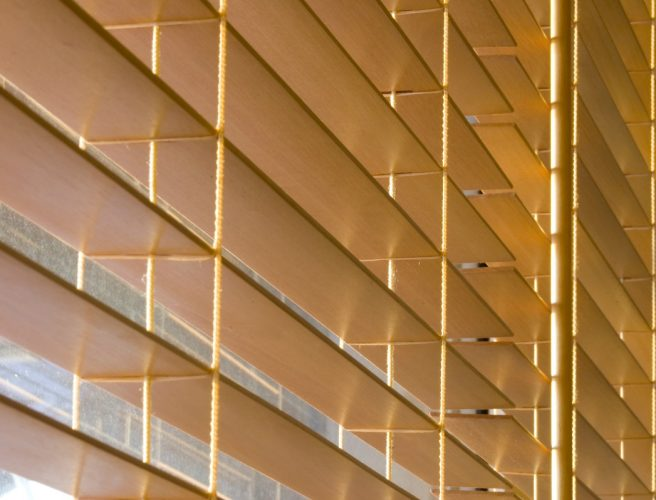 Close up image of Wood venetian blinds