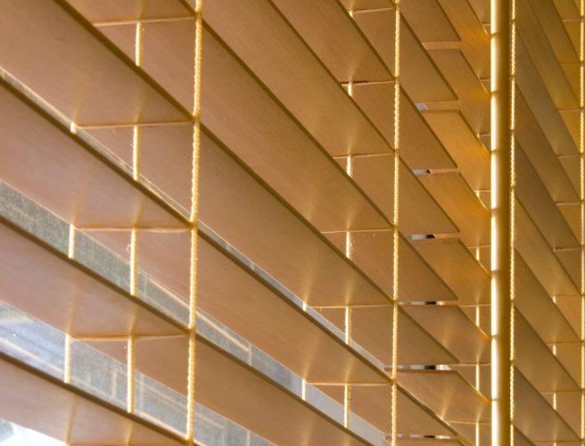 Close up image of Wood venetian blinds - Blinds Norfolk - Norwich Sunblinds