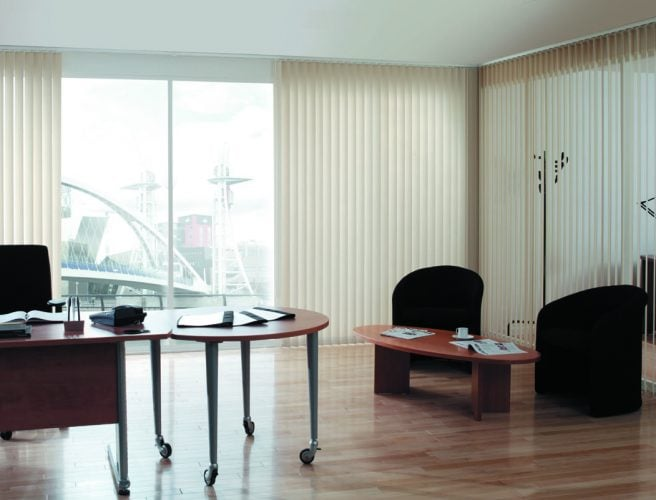 Ecru vertical blinds in the office