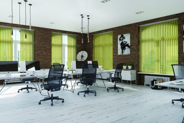 Green vertical blinds in modern office in converted building - Blinds Norfolk - Norwich Sunblinds