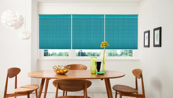 Pleated blinds: Hula Teal design from Louvolite 2017 collection