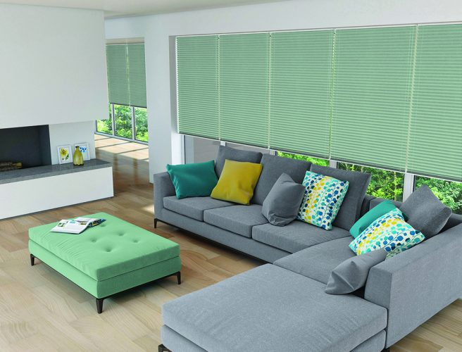 Pleated blinds: shot silk mineral