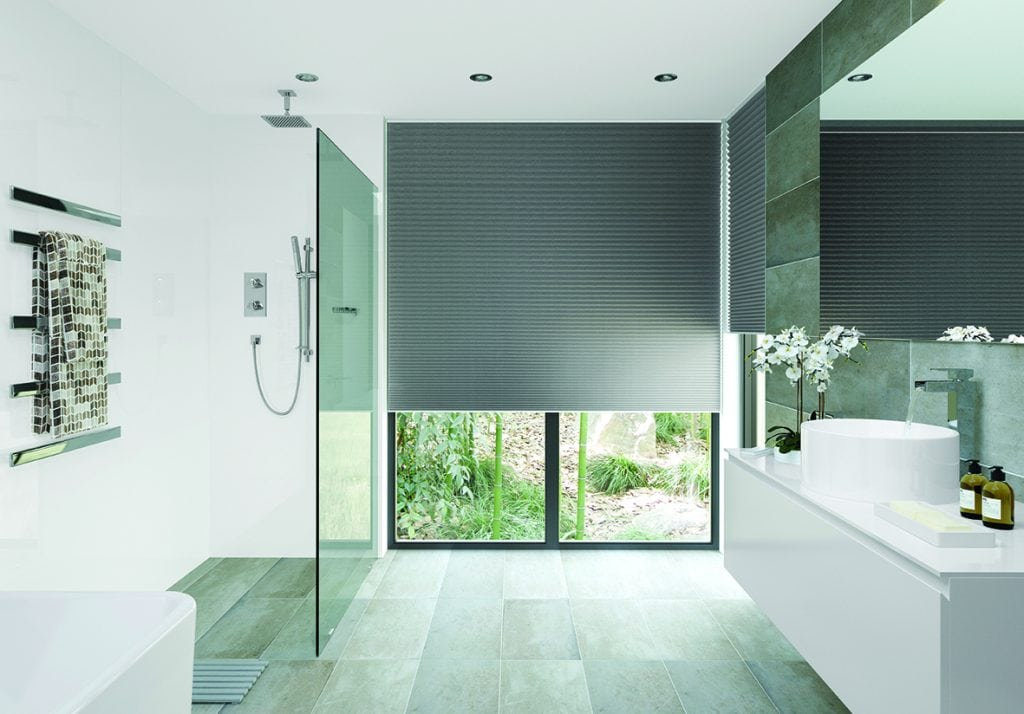 Pleated bathroom blinds in slate
