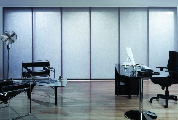 Grey office and commercial panel blinds - Blinds Norfolk - Norwich Sunblinds