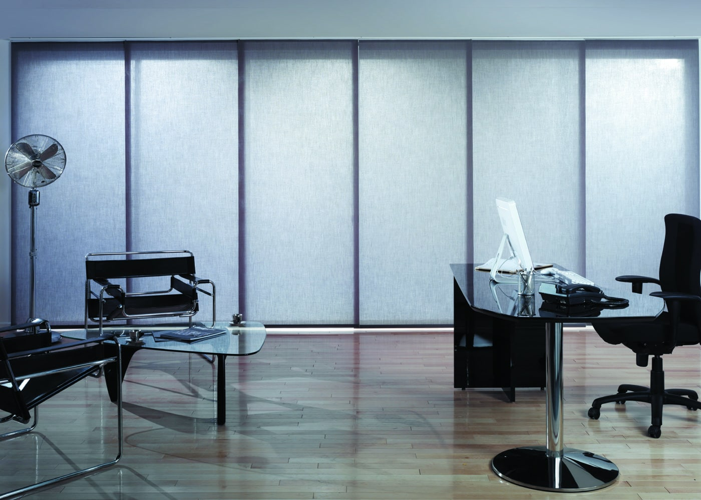 Grey office and commercial panel blinds