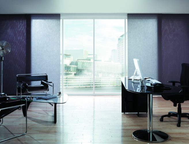 Purple coloured office panel blinds