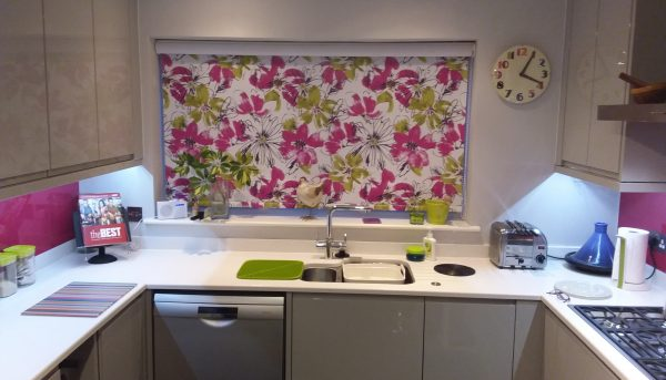 Pink and lime flowered kitchen blind in Norwich - Blinds Norfolk - Norwich Sunblinds