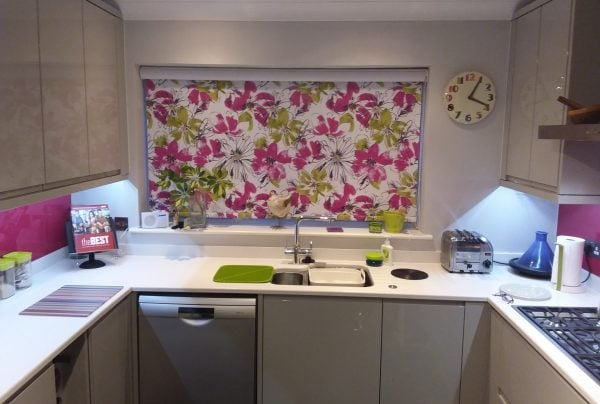 Pink and lime flowered kitchen blind in Norwich