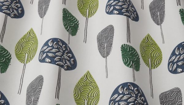 iLiv Scandi trees curtain fabric in lime, grey and navy on cream background.