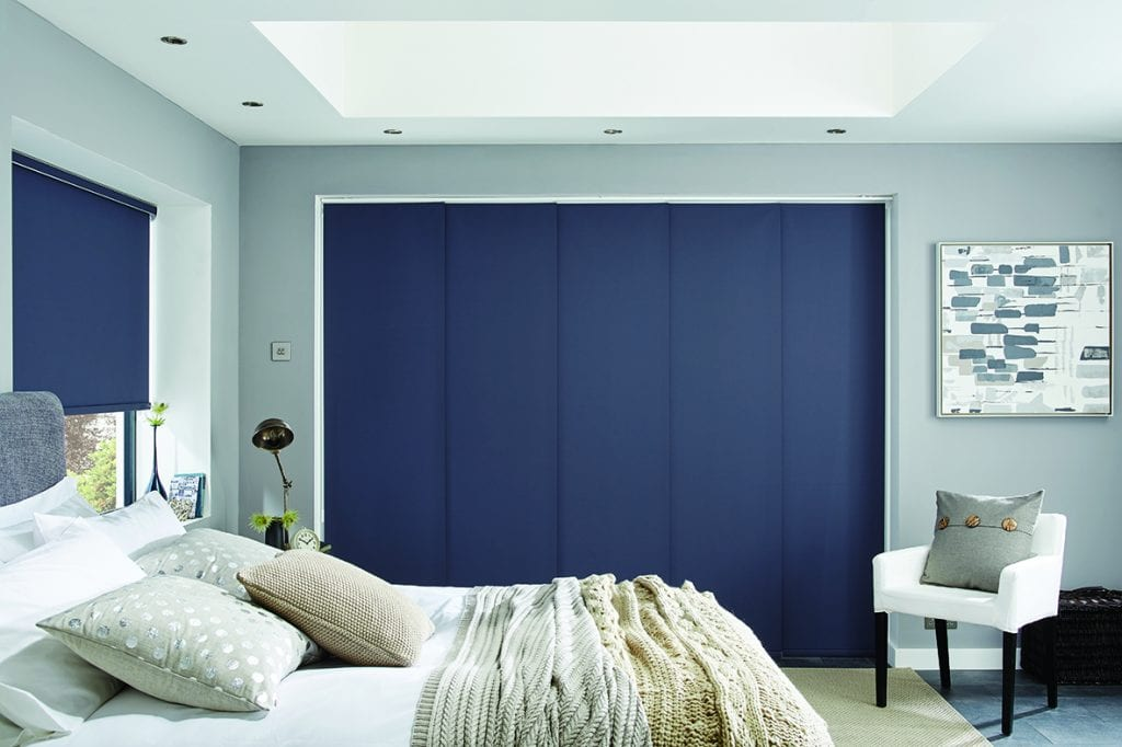 Blue panel blinds closed