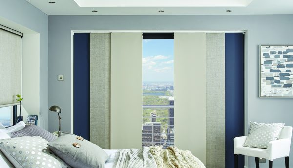 Mixed blues and cream fabric in panel blinds