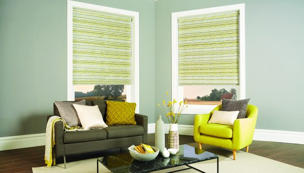 Roller blind in the living room with Pebbles Chartreuse tonic fabric