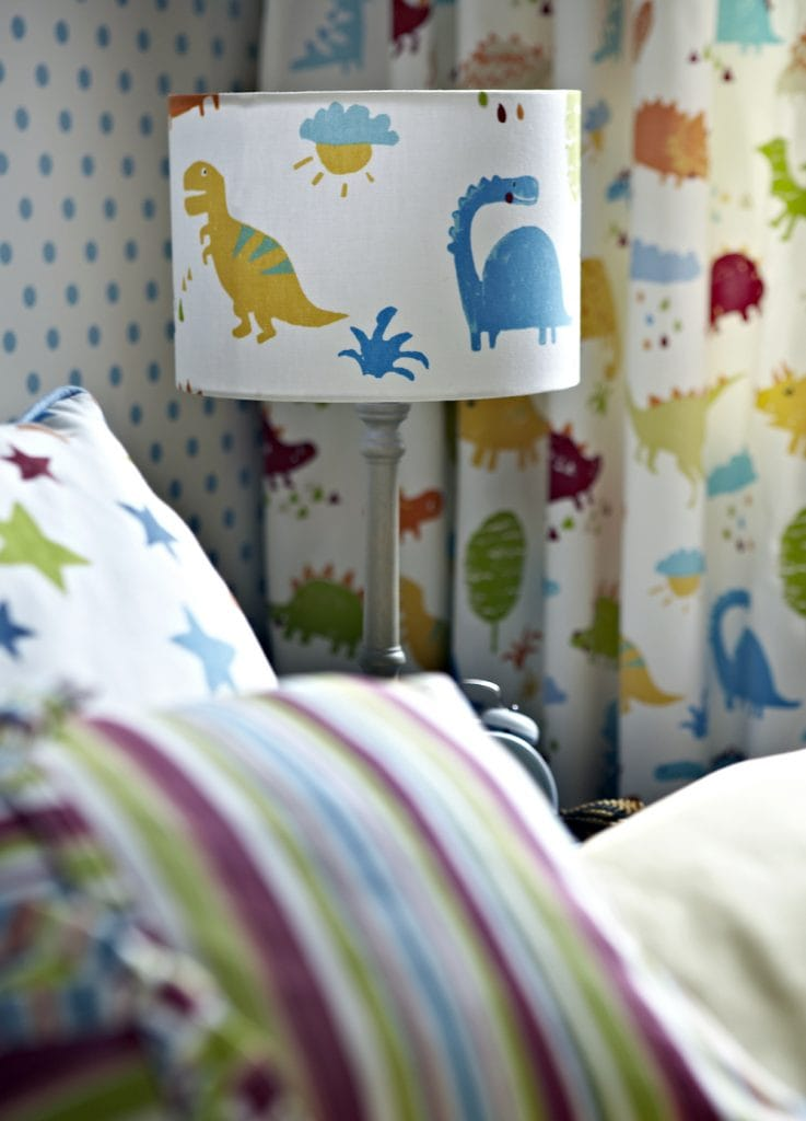 Matching lampshade, cushions and curtains for child's bedroom